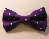 Deep Purple Polka Dot Bow Tie for Dog, Cat, or Human