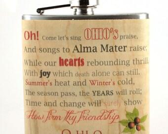 Ohio State/ Carmen Ohio, wood wrapped flask - unique gift for student, graduate, or alumini