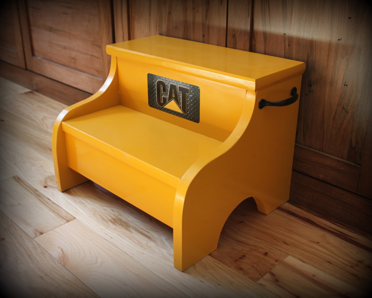 Childs Yellow Wood Step Stool Old Caterpillar Yellow