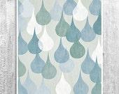 Abstract Rain Drops Wall Art Digital Print Home Decor Poster Neutral Decor Kitchen Bathroom Art Blue White Giclee Print
