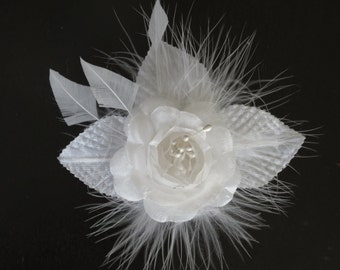 White Bridal  Flower Hair Clip  Wedding Hair Clip Fascinator Wedding Accessory Feathers