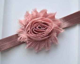 Vintage Mauve Shabby Flower headband, baby headband, newborn headband, infant headbands, Newborn Photo prop, Toddler headband.