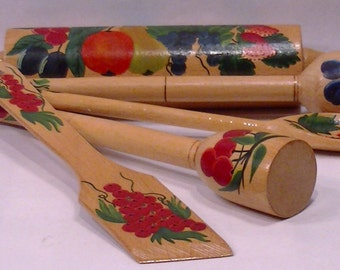 Mid Century instant Collection Wood Kitchen Utensils Rolling Pin