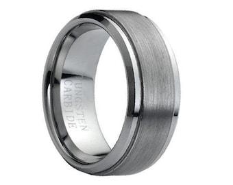 comfort fit wedding band 9mm tungsten carbide ring brushed wedding band mens wedding ring unique mens - Mens Wedding Rings Tungsten