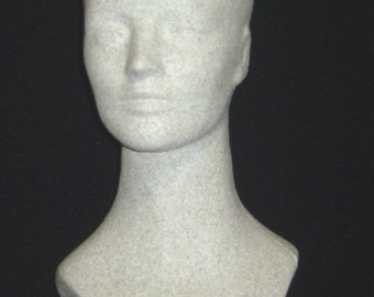"""15""""H #6176XDS DURASTONE Grey Granite MANNEQUIN Head Form-Unisex by Polly Products Co."""