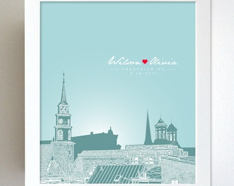 Skyline Personalize Gift / Frederick MD Skyline / Gift for Wife / 8x10 Art Poster / Any city available