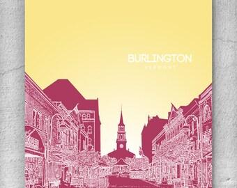 Burlington Vermont Skyline Poster / Home, Office or Nursery Wall Art Poster / Any City or Landmark