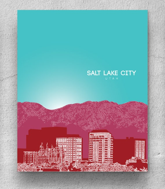 Salt Lake City Skyline Home Art Poster Modern By