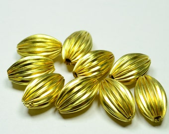 12 Pcs Raw Brass 10 x16 mm Barley Metal Beads ,Metal Bead ,Brass ,Findings ,Jewelery Components Metal