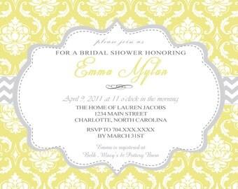 Shabby Chic Yellow and Grey Birthday or Shower Printable Invitation