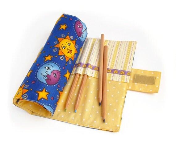 Blue Pencil Case Galaxy Pencil Roll Up Art Organizer Stars