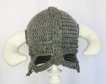 Viking Horns Hat , Crochet Helmet, Grey