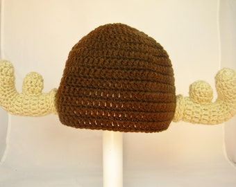 Moose Hat, Brown Crochet Animal Beanie, Please include SIZE in your order