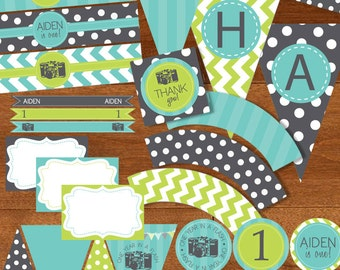 One Year in a Flash First Birthday Party Printable Package DIY - Aqua Blue Lime Green Gray Grey