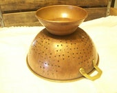Copper Colander with Brass Handles--aged Patina