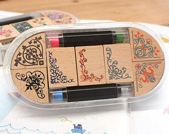 Lace Stamp Set -- Wooden Rubber Stamps -- Deco Stamps -- Style 1