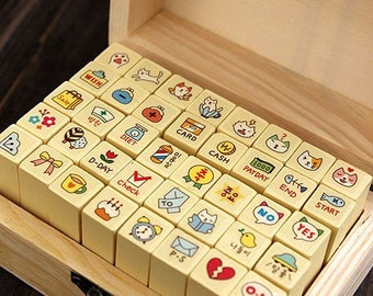 ON SALE - 40 Pcs Cat Style Wood Stamp Set -- Rubber Stamp -- Deco Stamp