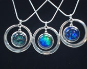Small Glass Pendant in Silver Drop Circle Finding