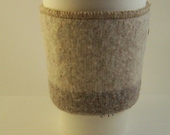 Eco-Friendly Coffee Cozy, Coffee Cup Sleeve, Upcycled From a Cream Wool Sweater