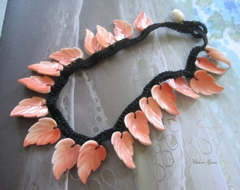 """Crocheted Pink Shell Leaf Necklace, 17"""" long, Handmade Jewelry"""