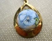 Pansy Handpainted Vintage Pendant in a Goldtone Setting 16 inch necklace