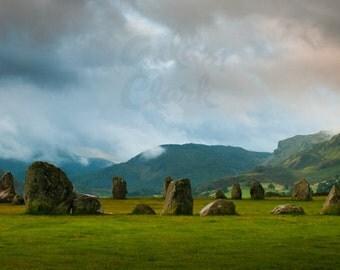 Stone Circle Ancient Landscape Photograph - English Lake District Panorama - 16 x 6 inch print