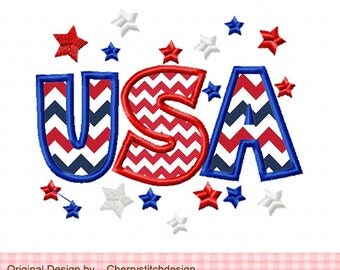 USA 4th of July Patriotic USA Machine Embroidery Applique Design -4x4 5x5 6X6""