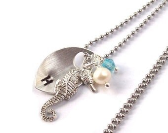 Silver Seahorse Necklace, Tropical Necklace , Personalized Necklace, stainless steel, hypo allergenic, stamped, pearl, spring fashion, aqua