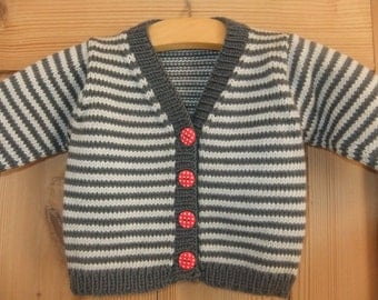 Hand knitted stripy v-necked cardigan in slate grey and silver grey - Available to order in sizes 3-6 months up to 12-18 months