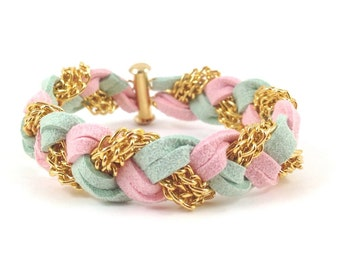Braided Bracelet in Pink and Mint Green