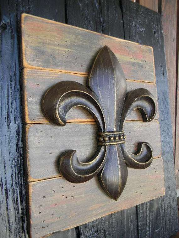 Fleur De Lis Home Decor Wall Art ~ French fleur de lis rustic art home decor wall by
