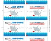 INSTANT Download JAW-SOME Shark Valentines Day Cards or School Lunch Box Jokes Note  - (8) Printable lunchbox Notes Images for kids cards