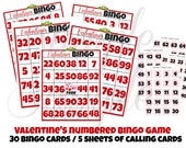 INSTANT DOWNLOAD Valentines Day Numbered BINGO Game 30 cards Printable Download - Fun Family Party diy