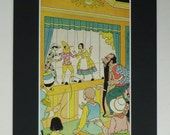 Vintage 1945 Pinocchio Print - Puppet Show - Circus - Matted - Carnival - Marionette - Carlo Collodi - Yellow - Mounted Ready To Frame