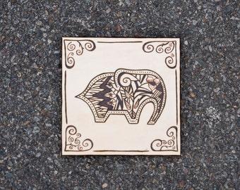 6 x 6 Elephant Wood Panel Woodburning**Made to order