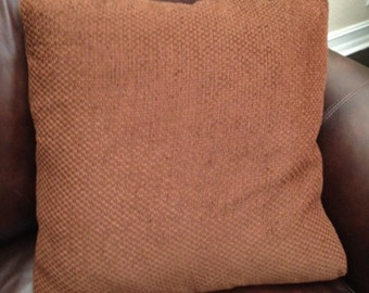 22x22 Brown/Burgundy Pillow Cover with Zipper Closure