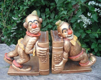 Vintage 70's Clown Bookends / Progressive Art Products