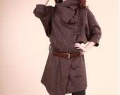 Women Loose Cashmere Coat Wool Jacket Two line Buttons Asymmetric Hem Wool Coat Custom made Plus Size