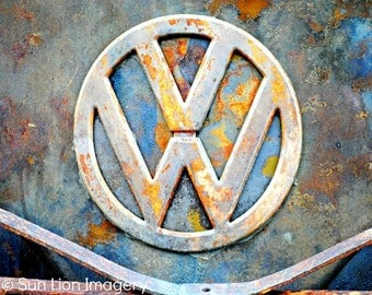Rusty V-Dub - Wall Art - Retro Print - Vintage Car Photography - Garage Art - Rust - Blue - 8x10