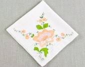 A Vintage White Hankie with Peach Applique Floral Motiff With French Knots, Cutwork and a Hand Rolled Stitched  Edge (H-268)