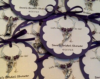 100 Custom Wine Themed Wine Charm Favors - Weddings, Bridal Shower, Rehearsal Dinner, Anniversary, Birthday Party or Special Event