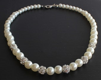 Pearl necklace, bridesmaid necklace, bridesmaid jewelry, wedding gift, crystal balls, bridal necklace