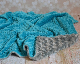 Teal and Gray Blanket - Ultra Soft Minky Baby Blanket - Personalized Baby Blanket