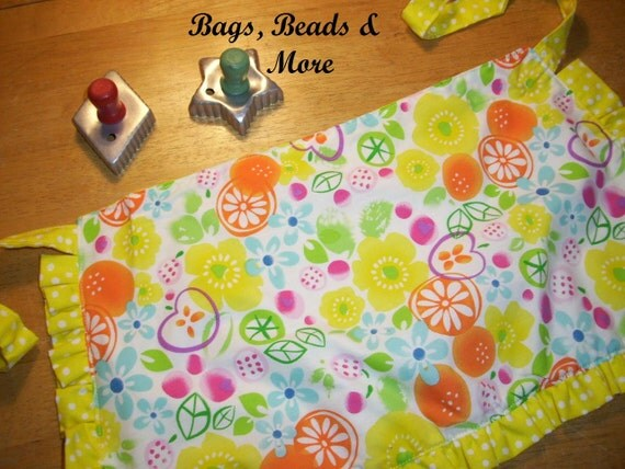Yellow Toddler  Reversible Apron with  Ruffle