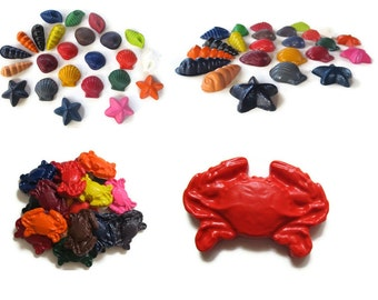 Seashell and Crab Crayons set of 40 - party favors