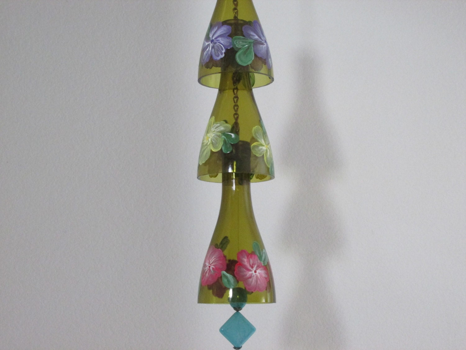 glass wind chime upcycled wine bottle wind chime flowers