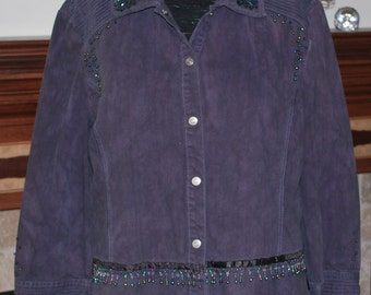 SALE--Embellished Lightweight Purple Denim Jacket