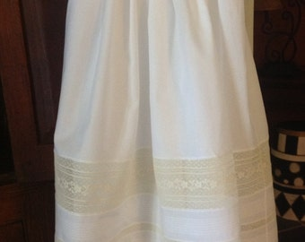 Christening Gown with Tucked and Lace Bands