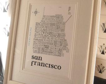 San Francisco word print (Sat Nav)