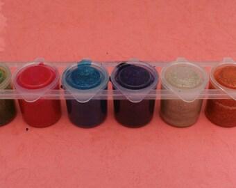 Gouache paint with glitter, set of 6  colours, 25 ml per bottle